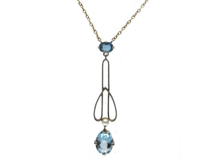 Aquamarine & Pearl 15ct Gold & Platinum Pendant on Chain