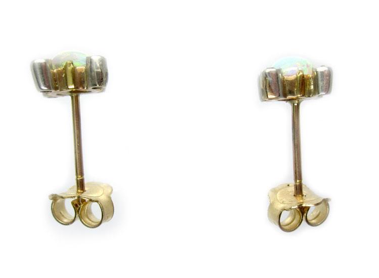 Opal & Diamond Stud Earrings