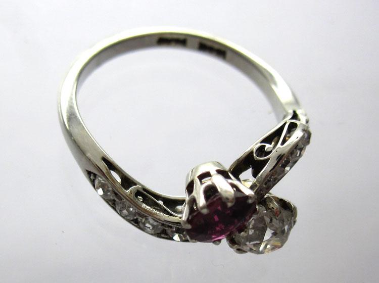 Ruby Diamond Crossover Ring