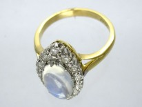 Moonstone Diamond 18ct Gold Ring
