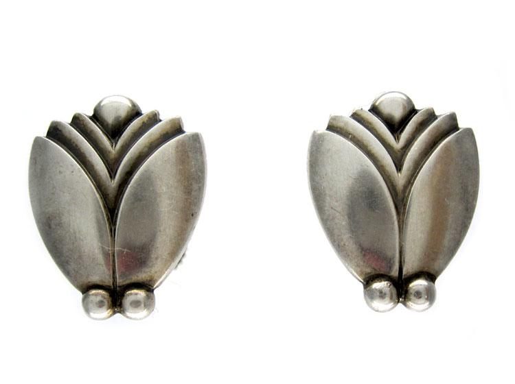 Georg Jensen Retro Silver Earrings