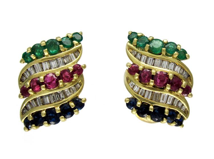 Multi Gemstone 18ct Earrings