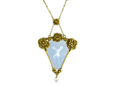 French 18ct Gold Pâte De Verre Art Nouveau Pendant