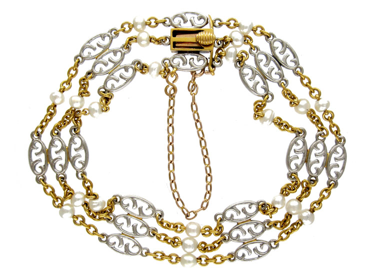 18ct Gold & Platinum Natural Pearl Bracelet