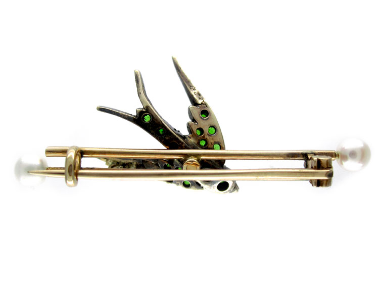 Green Garnet Bird Brooch