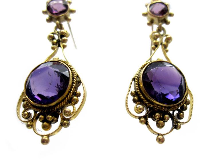 Amethyst 9ct Drop Earrings