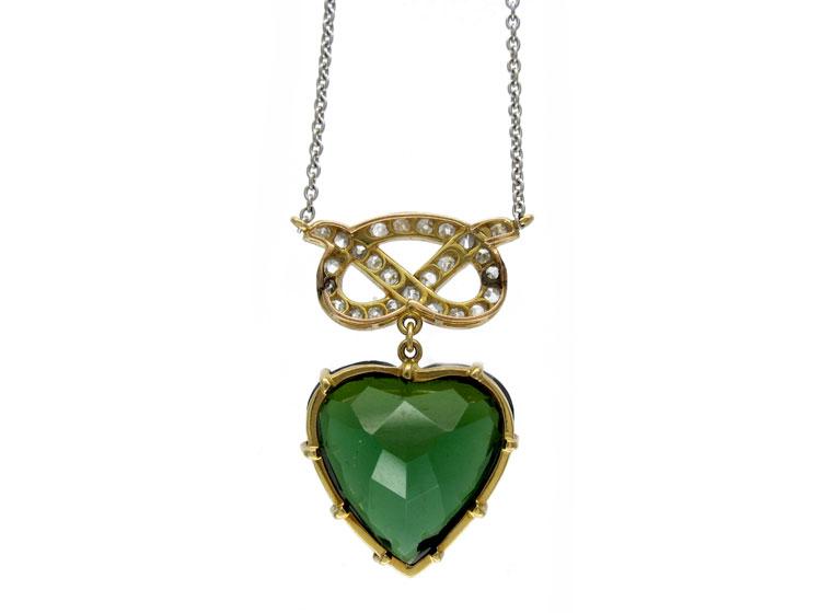 Green Tourmaline & Diamond Heart Pendant
