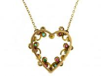 Diamond Emerald Ruby & Natural Pearl Suffragette Pendant