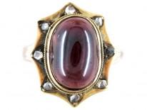 Cabochon Garnet Diamond Ring