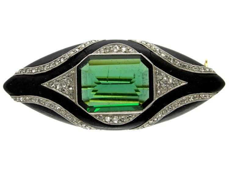 Green Tourmaline Diamond & Wood Brooch