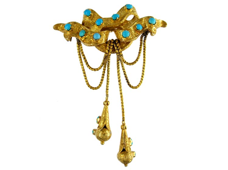 18ct Gold & Turquoise Double Tassle Drop Brooch