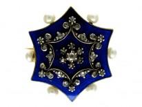 Blue Enamel Rose Diamond & Natural Pearls Brooch