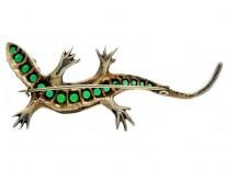 White & Green Paste Lizard Brooch