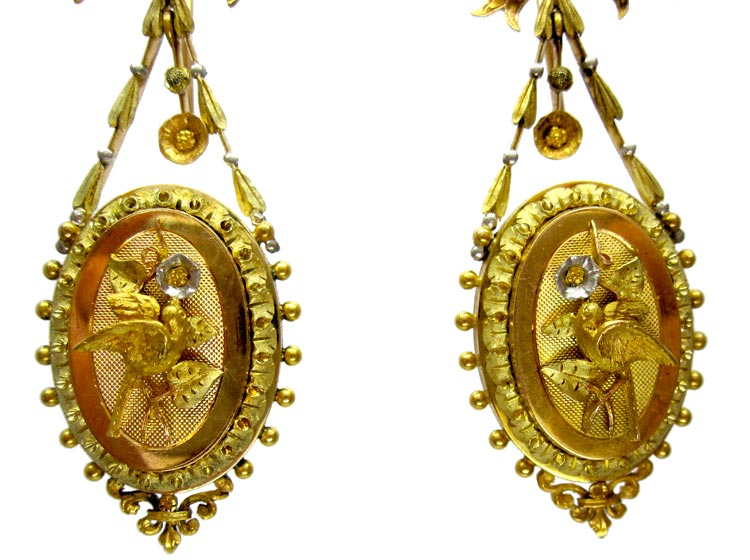 French 3 Colour Gold Earrings