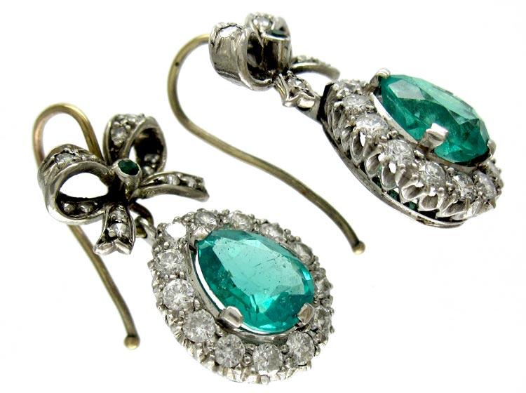 Emerald Diamond Bow & Pear Shape Drop Earrings