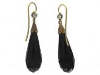 Art Deco Onyx & Rose Diamond Drop Earrings
