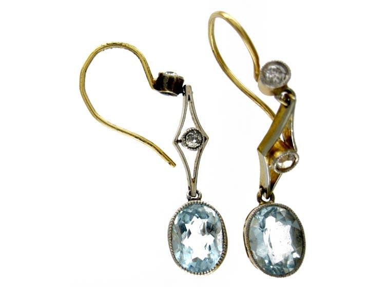 Aquamarine Diamond Drop Earrings