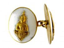 Buddha 18ct White Enamel Cufflinks