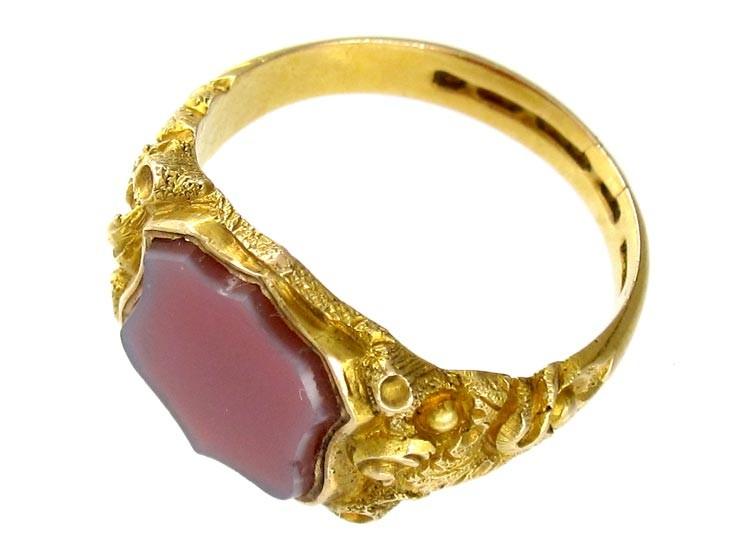 15ct Gold Carnelian Signet Ring