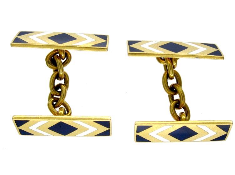 Art Deco Royal Blue & White Enamel 18ct Cufflinks