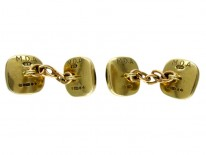 Cabochon Garnet 9ct Gold Cufflinks