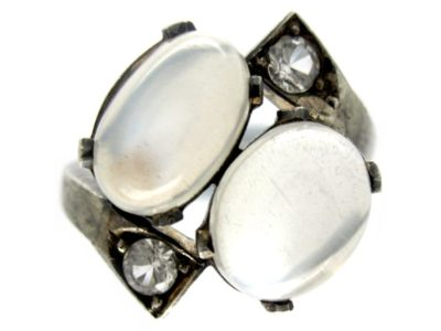 Silver Moonstone & Paste Crossover Ring