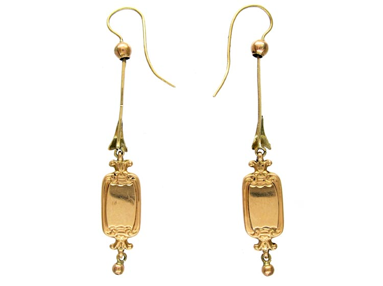 Swiss Enamel Chinamen Gold Earrings