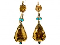 Georgian Citrine, Turquoise Gold Drop Earrings