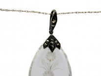Art Deco Silver Marcasite & Rock Crystal Flower Pendant