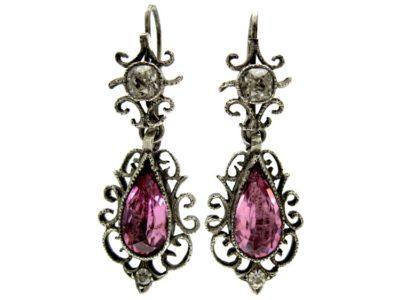Edwardian Pink & White Paste Silver Drop Earrings