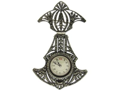 Art Deco Marcasite & Silver Brooch with Watch