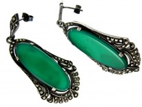 Crysophase Marcasite Art Deco Earrings
