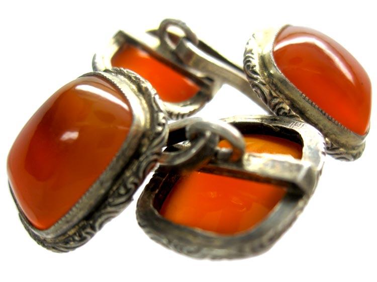 Carnelian Silver Cufflinks