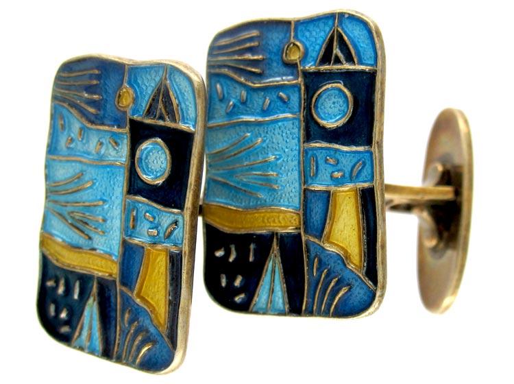 David Andersen Four Seasons Series Enamel Silver Cufflinks