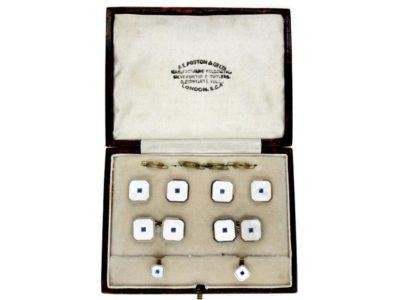 Art Deco Cufflinks & Studs Set in Original Case
