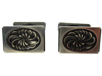 Mid Century Silver Rectangular Cufflinks With Floral Swirls, Designed by Henry Pilstrup for Georg Jensen