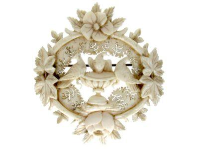 Carved Ivory Doves of Pliny Brooch