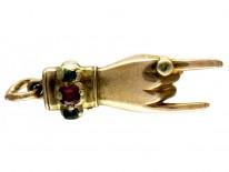 Emerald & Ruby Hand Gold Charm