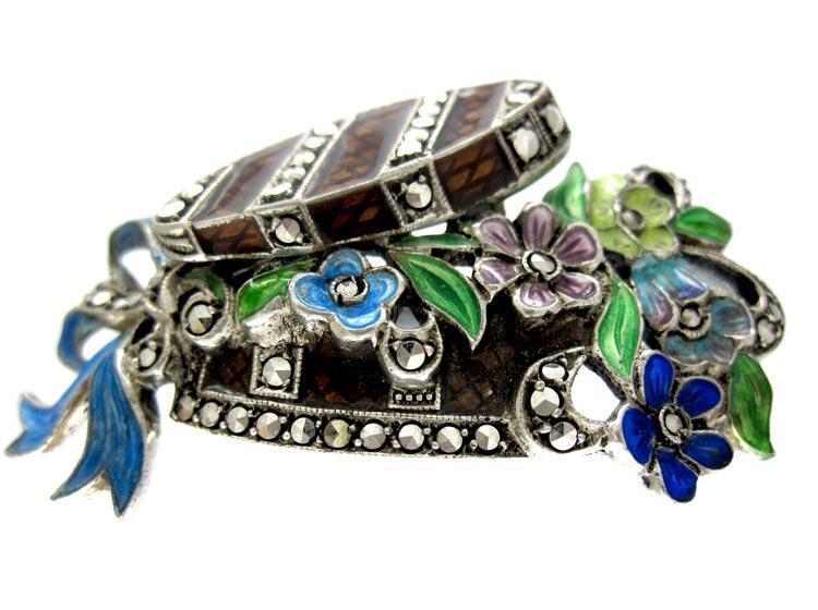 Silver Marcasite & Enamel Hat Box Brooch