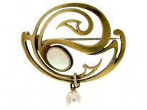 Art Nouveau 15ct Gold & Opal Set Brooch