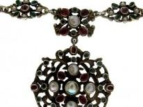 Austro-Hungarian Garnet & Blister Pearl Pendant Necklace
