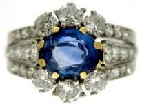 French Sapphire & Diamond Art Deco Ring