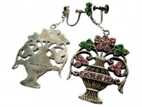 Flower Basket Silver & Paste Earrings