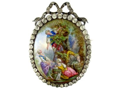 Georgian Large Oval Silver & Enamel Miniature Brooch After Boucher