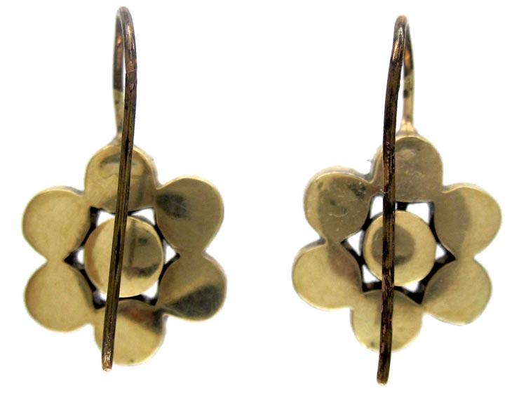 Georgian Flower Garnet Earrings