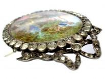 Georgian Large Oval Silver & Enamel Miniature Brooch After Boucher