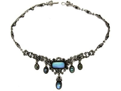 Opal & Moonstone Arts & Crafts Silver Necklace