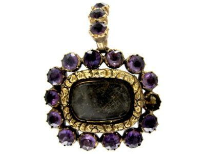Georgian Gold & Amethyst Set Pendant Brooch