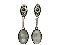 Arts & Crafts Silver & Blister Pearl Earrings