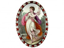 Georgian Plaque of a Grecian Muse Cavorting in an Elysian Field